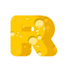 letter r cheese font symbol of cheesy alphabet vector image