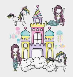 Little mermaid art cartoon vector