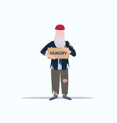 man beggar holding sign board with hungry text vector image