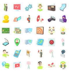 Media holder icons set cartoon style vector