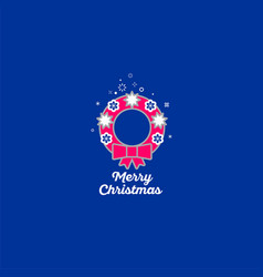 merry christmas wreath icon vector image