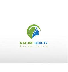 Nature beauty logo leave creative logo face vector