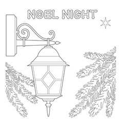 Noel night black and white poster with lonely star vector