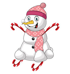 pink snowman on white background vector image