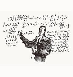 professor formulas a blackboard learning vector image