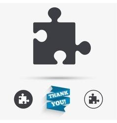 Puzzle piece sign icon Strategy symbol vector image