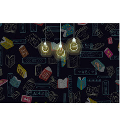 Reading books at night hobby background vector