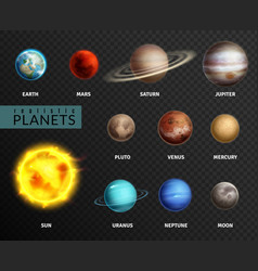 realistic planets solar system planet space vector image