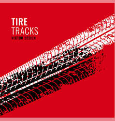 Red background with tire tracks mark vector