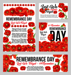 Remembrance day poppy flower memorial banner vector