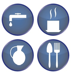 round blue buttons for dining vector image