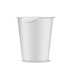 Round white plastic pot with foil cover cup vector