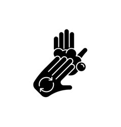 Rub palms with fingers black glyph icon vector