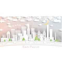 sao paulo brazil city skyline in paper cut style vector image