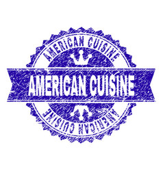 Scratched textured american cuisine stamp seal vector