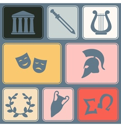 Seamless background with greece symbols vector image