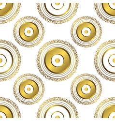 Seamless geometric pattern with gold circles vector
