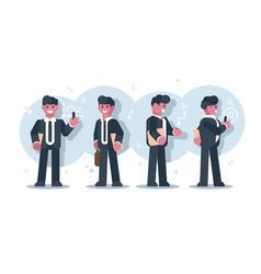 set cartoon businessmen character design vector image