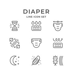 Set line icons of diaper vector