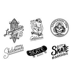 set of skateboarding labels logo vector image