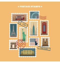 Set of Travel Postage Stamps New York London Paris vector image