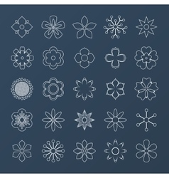 Set of White Outline Flowers vector image