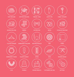 sewing equipment tailor supplies flat line icons vector image