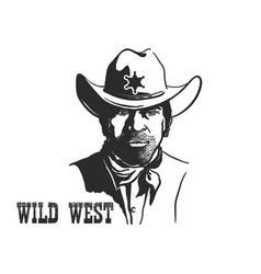 Sheriff man portrait in cowboy hat and sheriff vector