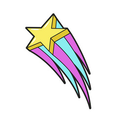 shooting star icon graphic and sky decoration vector image