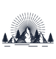 Snowy mountains with pines trees to wanderlust vector