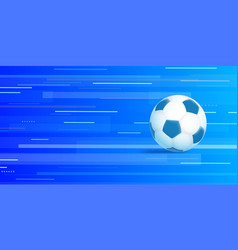 soccer ball on abstract blue background vector image