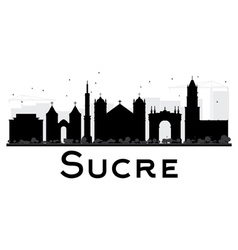 Sucre City skyline black and white silhouette vector image