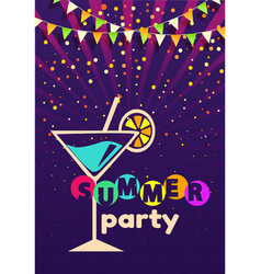 Summer glamor party poster cocktail alcohol drink vector