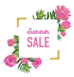 summer sale floral banner with golden frame vector image