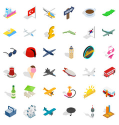 Summer travel icons set isometric style vector