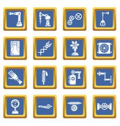 Technical mechanisms icons set blue square vector