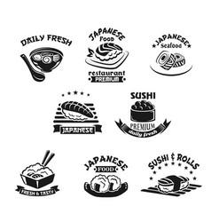 template icons for sushi seafood restaurant vector image