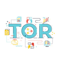 Tor term reference word lettering vector