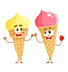 two funny ice cream cone characters - strawberry vector image
