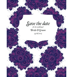 Wedding invitation with purple flowers vector image