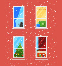 Windows in winter time christmas and new year vector