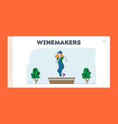 Winemaking process landing page template woman vector