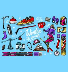 Winter sports season vintage snowboarding and vector