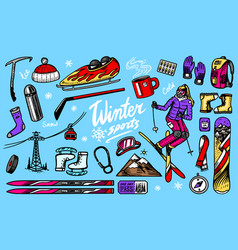 winter sports season vintage snowboarding vector image