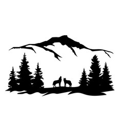 wolves mountains forest vector image