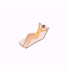 woman sunbathing on a beach girl relaxing vector image