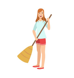 woman sweeping the floor with broom cartoon adult vector image