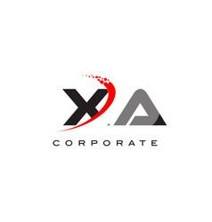 Xa modern letter logo design with swoosh vector