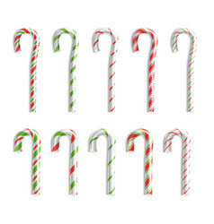 Xmas candy cane set isolated on white top vector