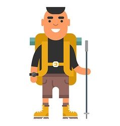 Young man with backpack and hiking pole ready for vector image